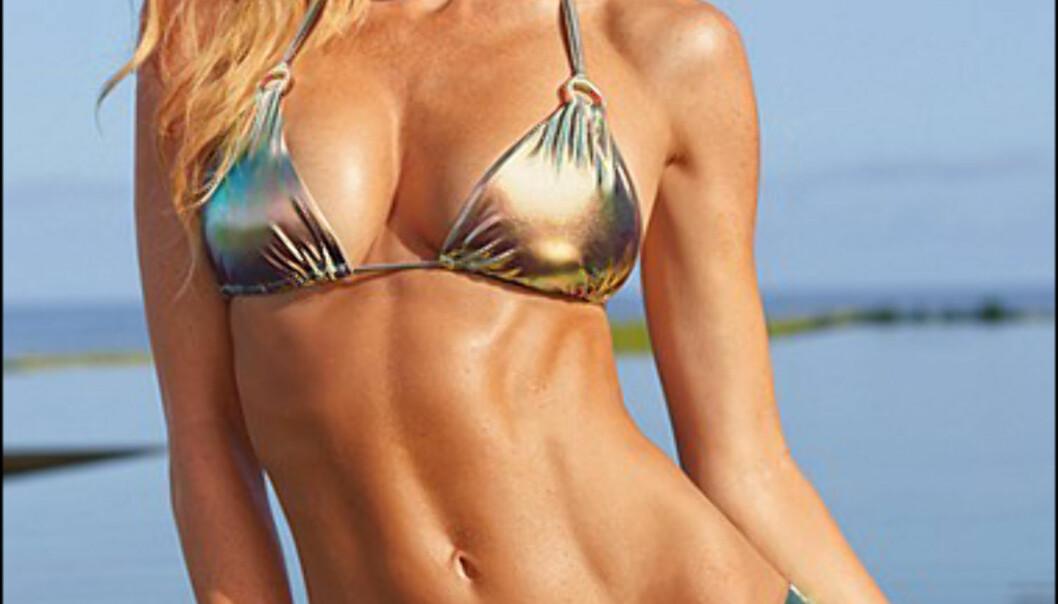 <strong>Metallisk trekantbikini fra Victoria's Secret:</strong> 82 dollar for toppen og 76 for trusa - totalt 158 dollar/870 kroner hos Victoria's Secret på nett. Foto: Victoria's Secret
