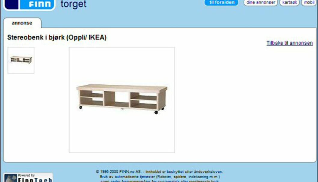 """Fin stereobenk fra Ikea i bjørketre - skal ifølge giveren være i god stand. Faksimile fra: <a target=""""_blank"""" href=""""http://www.finn.no/finn/bap/object?finnkode=12256672&sid=xz12leaSHRxW991283&pos=null&tot=null&WT.svl=Link"""">finn.no</a>."""