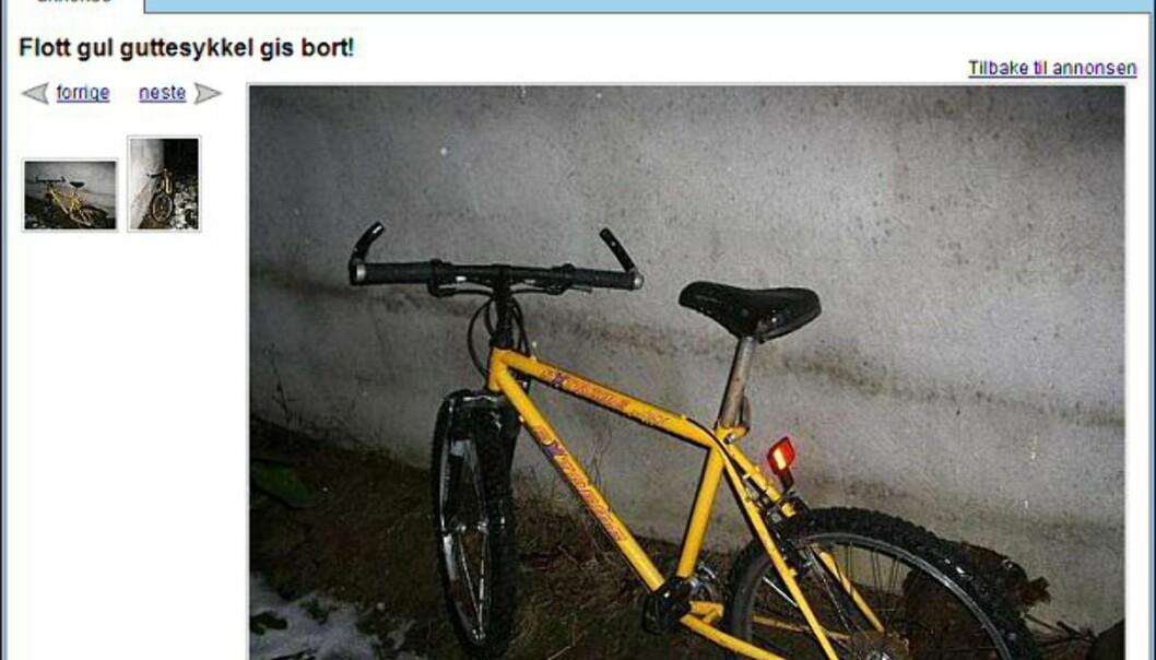 """Gratis sykkel? Denne sykkelen gis bort til den som vil hente den. Faksimile fra: <a target=""""_blank"""" href=""""http://www.finn.no/finn/bap/object?finnkode=12187342&sid=xz12leaSHRxW526583&pos=null&tot=null&WT.svl=Bilde"""">finn.no</a>."""