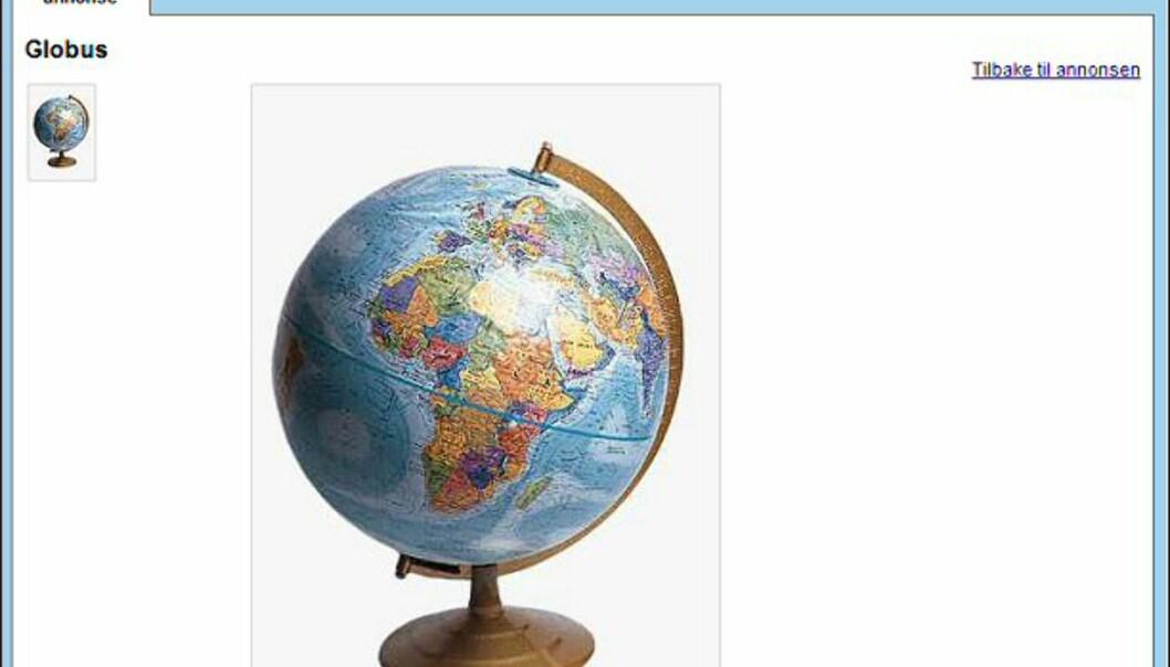 "Fin globus gis bort... Faksimile fra: <a target=""_blank"" href=""http://www.finn.no/finn/bap/object?finnkode=12041729&sid=xz12leaSHRxW781511&pos=null&tot=null&WT.svl=Link"">finn.no</a>."