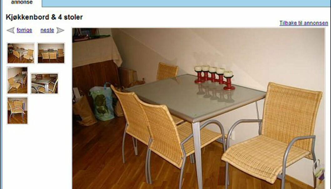 """Kjøkkenbord med fire stoler i god stand - også helt gratis. Faksimile fra: <a target=""""_blank"""" href=""""http://www.finn.no/finn/bap/object?finnkode=12267260&sid=xz7cbaoEQ8R011066&pos=null&tot=null&WT.svl=Link"""">finn.no</a>."""