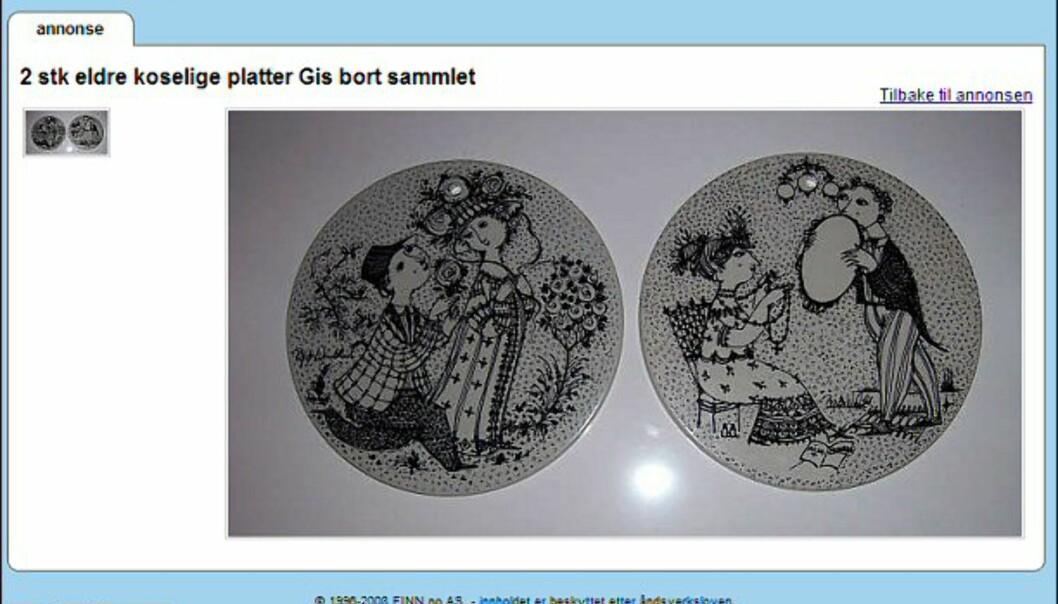 """Bjørn Wiinblad er en kjent og anerkjent dansk keramiker og maler. Her får du to platter - helt gratis. Faksimile fra: <a target=""""_blank"""" href=""""http://www.finn.no/finn/bap/object?finnkode=12259014&sid=xz12leaSHRxW991283&pos=null&tot=null&WT.svl=Link"""">finn.no</a>."""