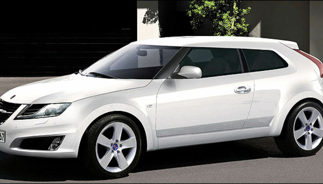 Saab 9-1. Saab trenger sårt nye modeller. Dette er et forslag i kompaktklassen. Bildet er manipulert.