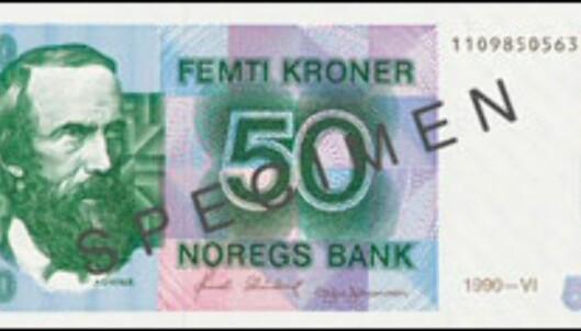 Denne 50-lappen er snart verd 0,- kroner. <i>Faksimile fra Norges Bank</i>