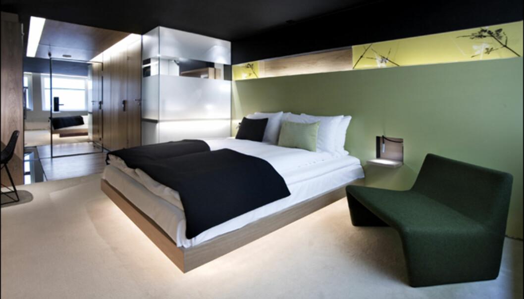 Grønnaktig stil i sommerrommet. Den lyse boksen i hjørnet er badet. <br /> <i>Foto: Grims Grenka</i>