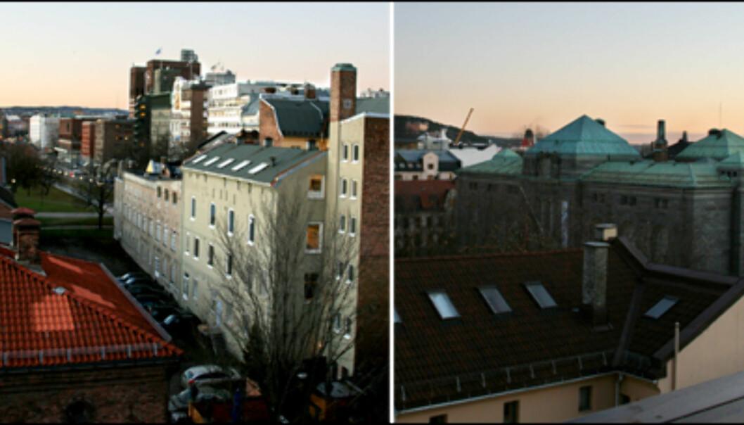 Utsikt fra takterrassen. På venstre side ser du Rådhuset i det fjerne, mens på høyre side ser du Nasjonalmuseet (tidligere Norges Bank).<br /> <i>Foto: Kim Jansson</i>