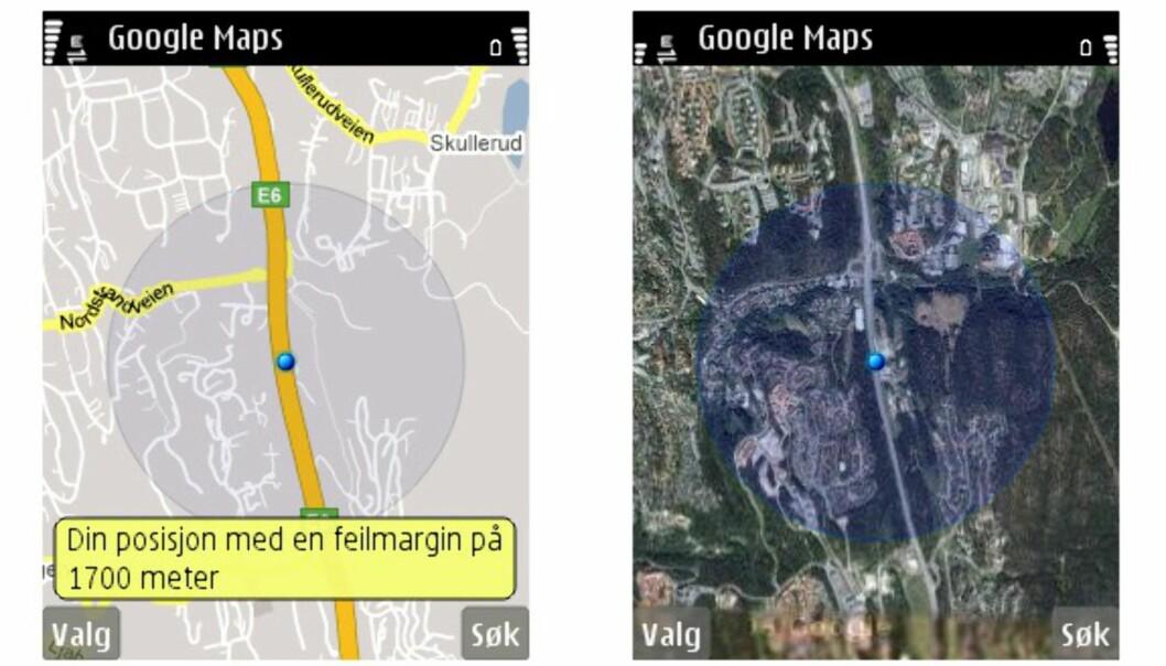 Når Google Maps med My Location ikke kan fastsette posisjonen nøyaktig (med GPS), får vi en blå ring - din posisjon vil ideelt ligge innenfor denne ringen. Merk at du også kan bytte til satellittbilde.