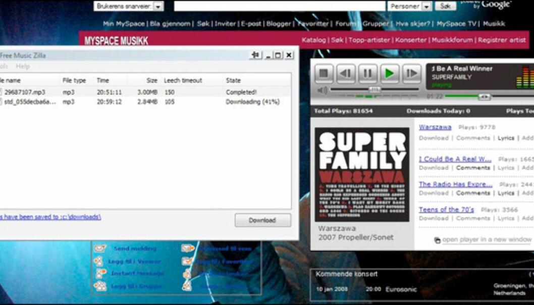 Selv om download-lenka ikke fungerer, kan du lagre lydstrømmen rett på harddisken slik at du også kan nyte Superfamily når du ikke har nettilgang.