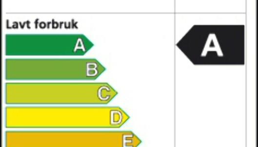 Kjenner du igjen dette utsnittet? Energimerkingen er lett gjenkjennelig på de røde, oransje, gule og grønne pilene, og skal være godt synlig i butikken, slik at det er lett å velge grønt. <i>Faksimile fra NVE</i>