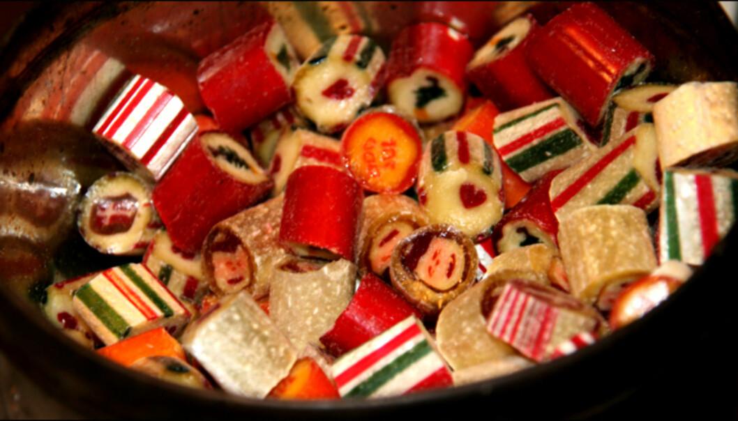 På denne tiden av året finner du drops med julemotiv. Foto: Kim Jansson