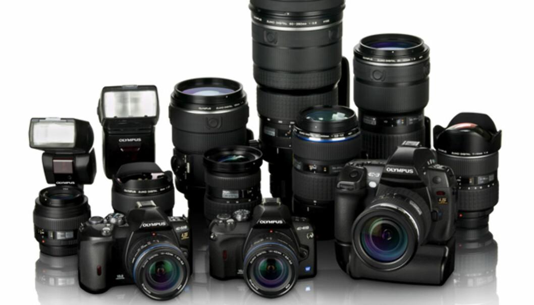 <strong>De tre kameraene Olympus nå satser på - fra venstre:</strong> E-510, E-410 og E-3.