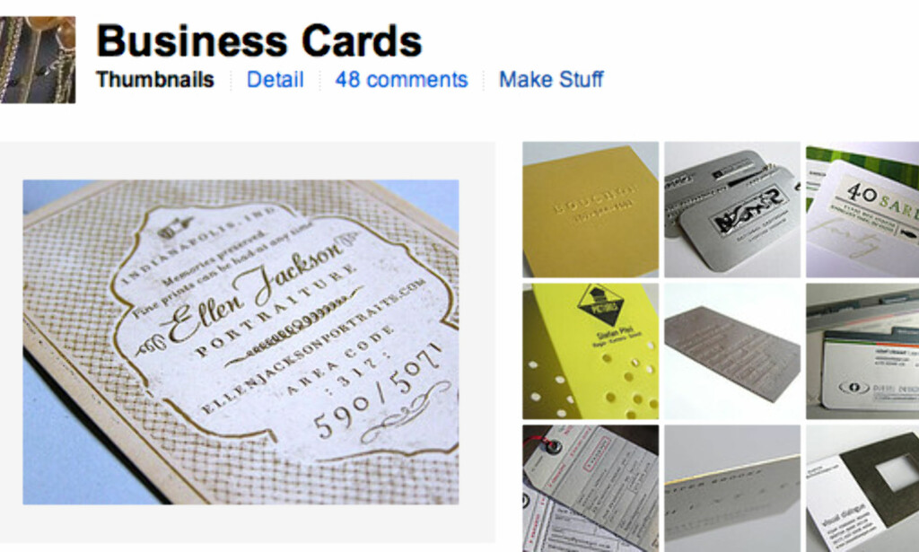 Business cards (faksimile, Flickr.com)