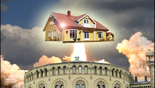 Med Stortingets hjelp fyker boligprisene til værs - helt uavhengig av renta.<br /> <i>Illustrasjon: Per Ervland</i>