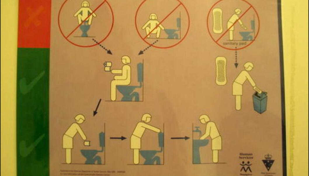 Guide for nybegynnere. Denne plakaten finner du på enkelte offentlige toaletter i Melbourne, Australia. Foto: Sindre Storvoll