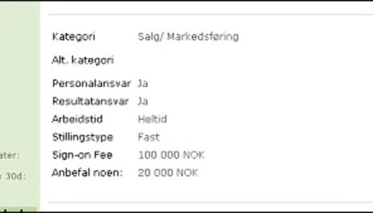 Kjenner du en flink potensiell International Sales Manager, gjerne med erfaring fra Øst-Euroopa? Her er 20.000 gode grunner til å fortelle noen om det... <i>Faksimile fra sign-on-fee.no, 31. august 2007</i>