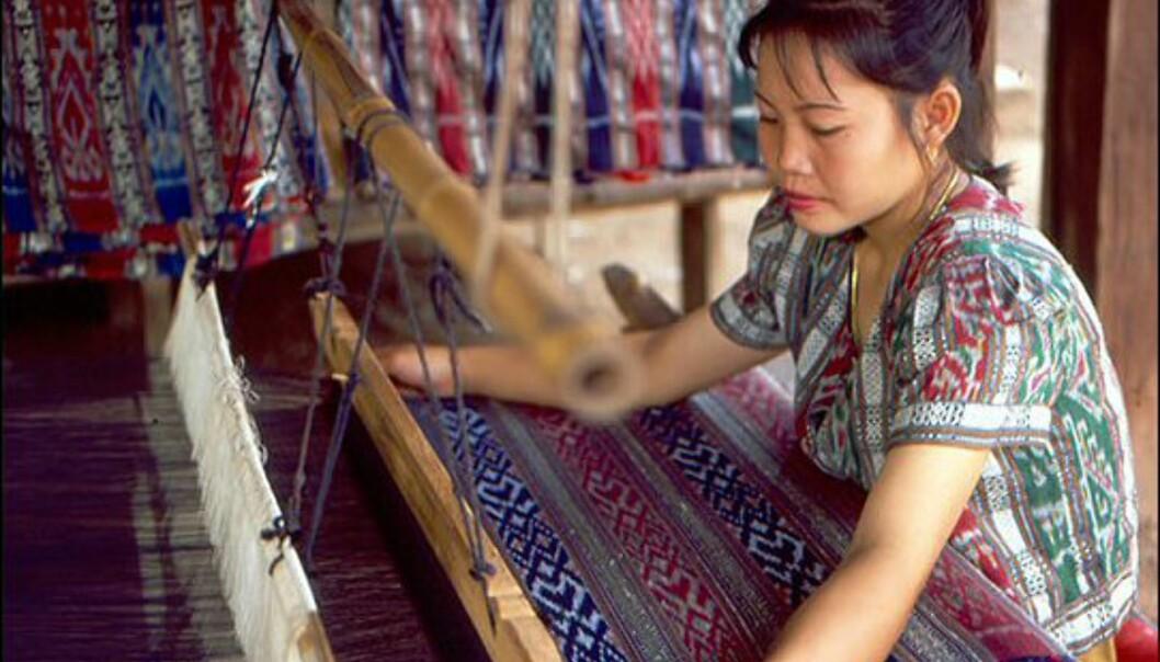 Thailand er kjent for sin vakre silke, en viktig eksportartikkel. Her fra silkelandsbyen Khid i provinsen Udon Thani. Foto: Tourism Thailand