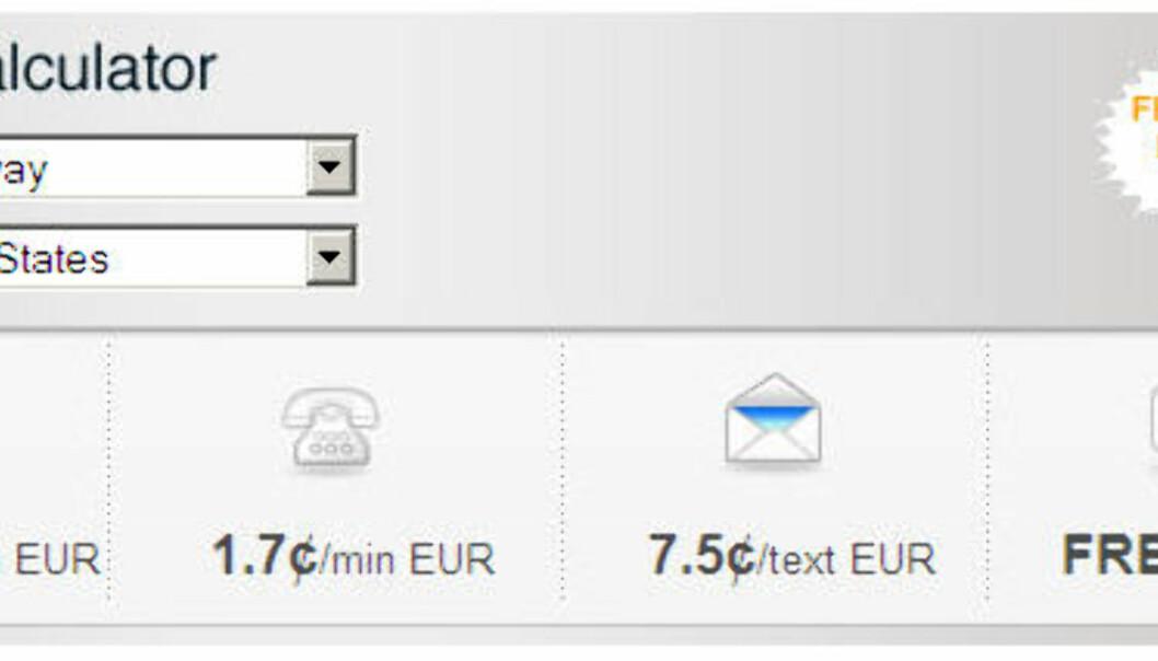 Via en priskalkulator ser du raskt hvor mye det koster å ringe til andre land.