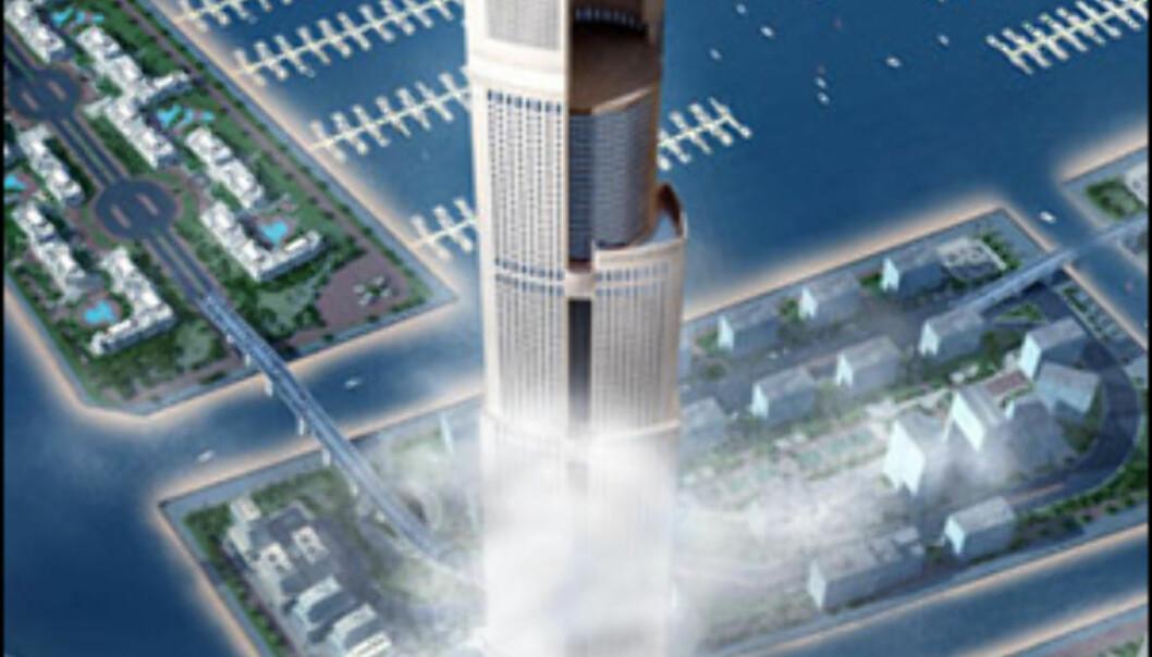 Legg merke til svømmebassenget på toppen av den ene bygningsdelen.  Foto: Burjdubaiskyscraper.com