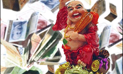 Er dette deg om tjue år? Lykkelig Buddha på pengefrosk. Illustrasjon: Per Ervland Foto: Illustrasjon: Per Ervland