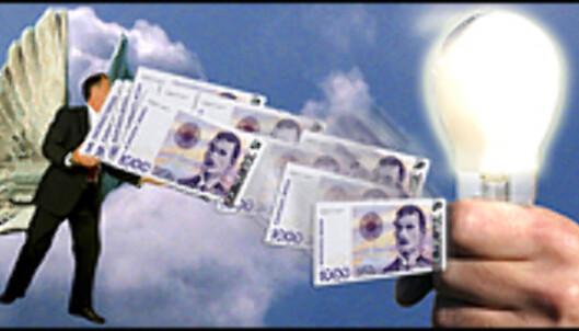 <i>Forretningsengelen har penger og søker lekekamerater. Illustrasjon: Per Ervland</i> Foto: <i>Illustrasjon: Per Ervland</i>