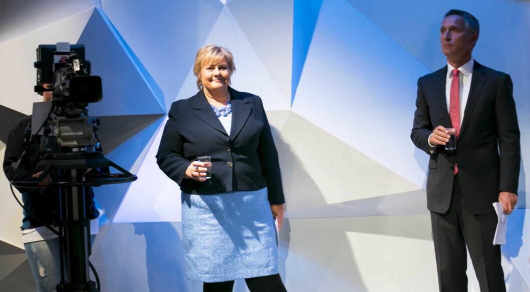 Statsminister Jens Stoltenberg og Høyre-leder Erna Solberg under mandagens partilederdebatt  i NRK. Foto: Heiko Junge / NTB scanpix