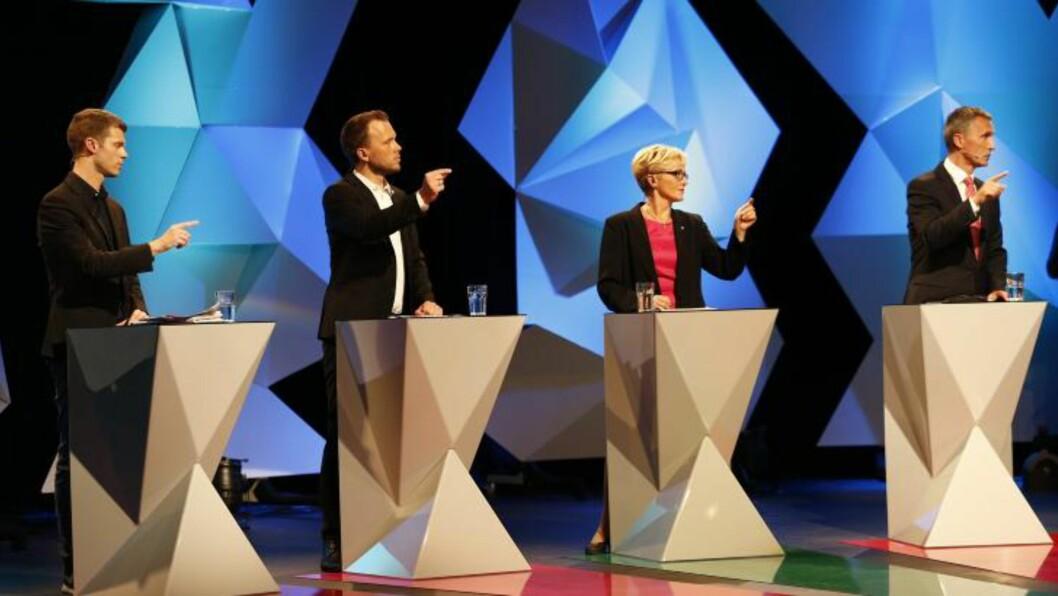 <strong>SISTE DEBATT:</strong> Valgkampens siste partilederdebatt på NRK sendes fra Chateau Neuf i Oslo.  Foto: Heiko Junge / NTB scanpix