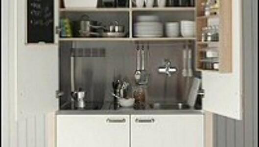 Mindre plass krever kreative løsninger, som dette kjøkken-i-skapet fra Ikea. <i>Foto: Ikea</i>