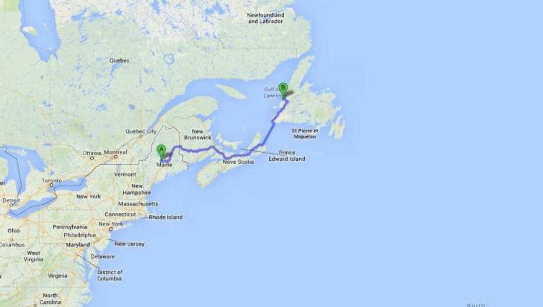 <strong>MAINE TIL NEWFOUNDLAND:</strong> 39-åringen forsøkte å fly på heliumballongene fra Maine (A) og over Atlanterhavet, men måtte lande etter bare noen timer. Han kom ikke lenger enn til Newfoundland (B). Skjermdump: Google Maps