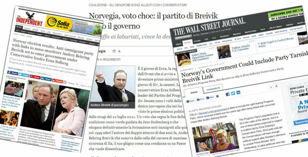 BREIVIK-FOKUS: Da Fremskrittspartiet og resten av de borgerlige fikk flertall etter mandagens valg, valgte flere utenlandske medier å fokusere på massemorder Anders Behring Breivik. Her saker fra The Independent, Corriere della Sera og The Wall Street Journal.
