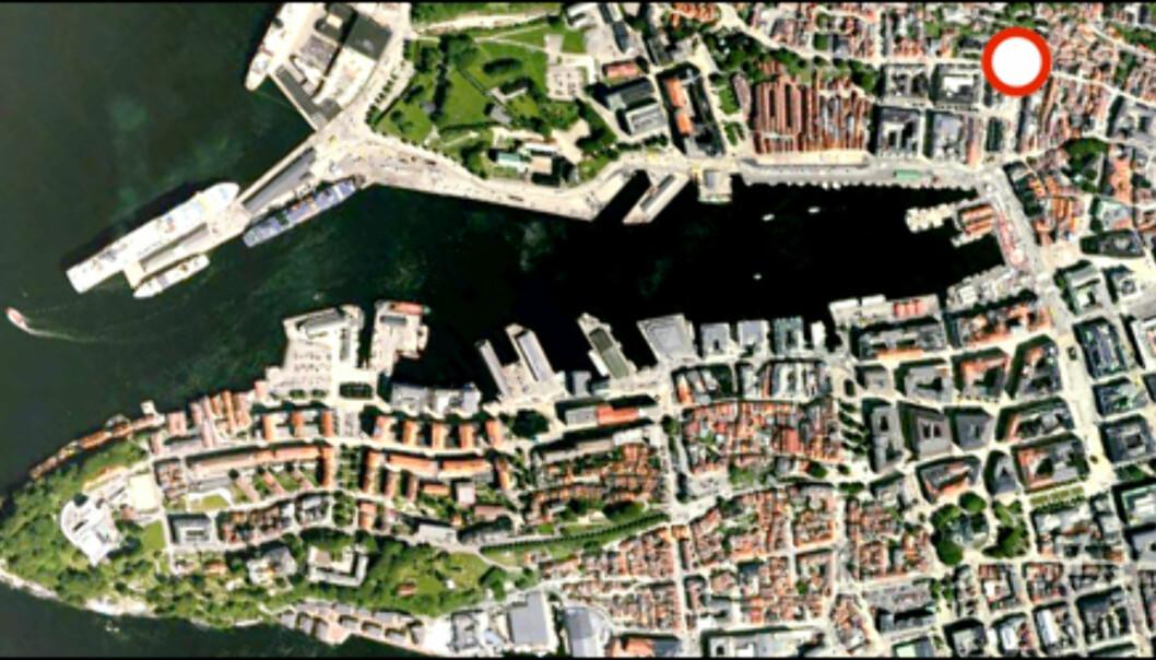 Her starter Fløibanen Foto: Google Earth