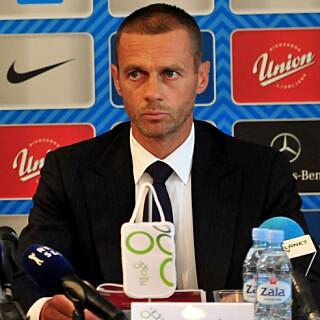 NORDISK STØTTE: Fotballforbundene i Danmark, Finland, Norge og Sverige vil ha slovenske Aleksander Ceferin som ny UEFA-president. Foto: EPA/IGOR KUPLJENIK