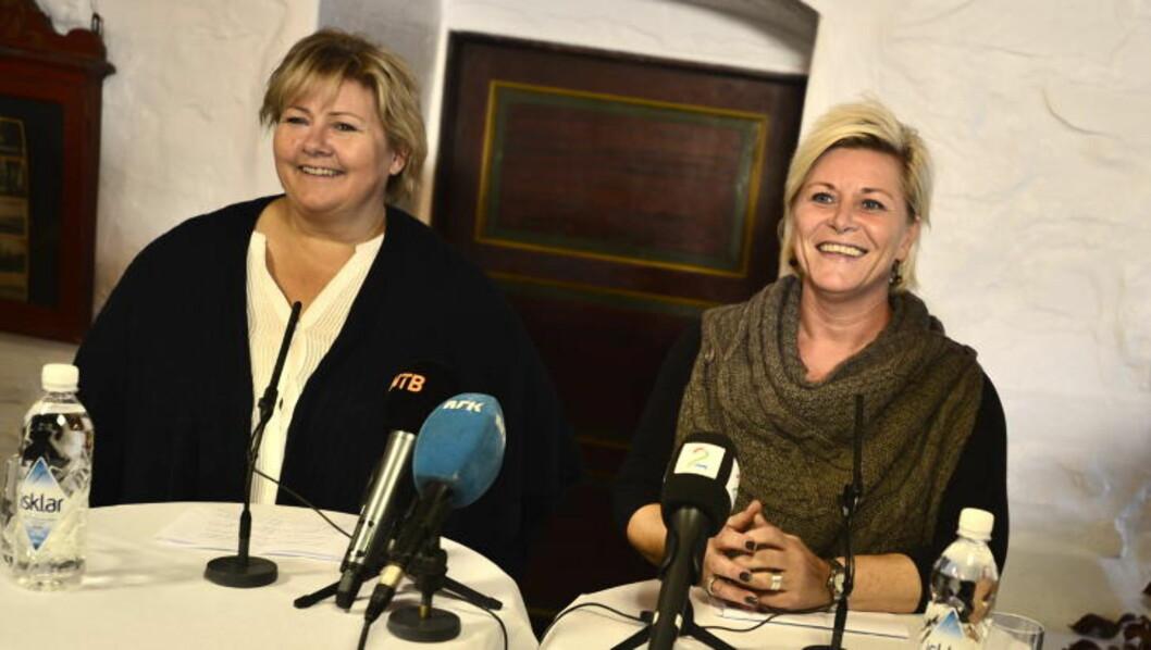 VIL FJERNE FORBUDET: Høyre-leder Erna Solberg og Frp-leder Siv Jensen sier de vil fjerne forbudet mot proffboksing i Norge. Foto: Thomas Rasmus Skaug