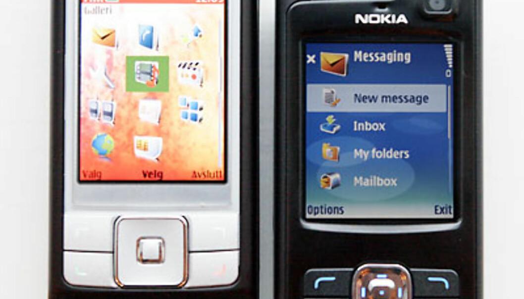 Se forskjellen i størrelsen mellom Nokia 6270 og Nokia N80 Foto: Per Ervland