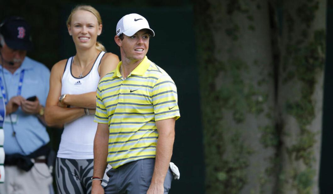 <strong>FORTSATT ET PAR:</strong> Rory McIlroy og Caroline Wozniacki har ikke gjort det slutt likevel.Foto: REUTERS/Brian Snyder / NTB Scanpix