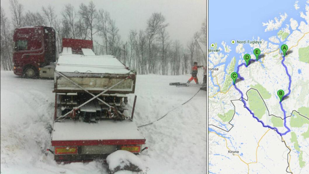 """<strong> LAR SEG IKKE RIKKE:</strong>  Slik har vogntoget med stålbjelker stått siden klokka 09 i morges på Kvænangsfjellet og blokkert eneste """"direktevei"""" mellom Nord-Troms og Vest-Finnmark. Havaristen står på punkt E på kartet: Kvænangsfjellet.  Derfor kommer du ikke korteste veien på 170 kilometer til A: Alta. Men du kan kjøre de 544 kilometrene fra D: Storslett, C: Skibotn og via Finland og B: Kautokeino. Foto: Pål Evensen, Falck/Kart: Google Maps."""