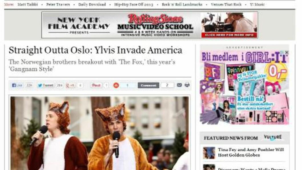 <strong>INTERVJUET:</strong> Ylvis-brødrene ble nylig intervjuet av Rolling Stone i USA. Intervjuet ligger nå på nett. Skjermdump: Rollingstone.com