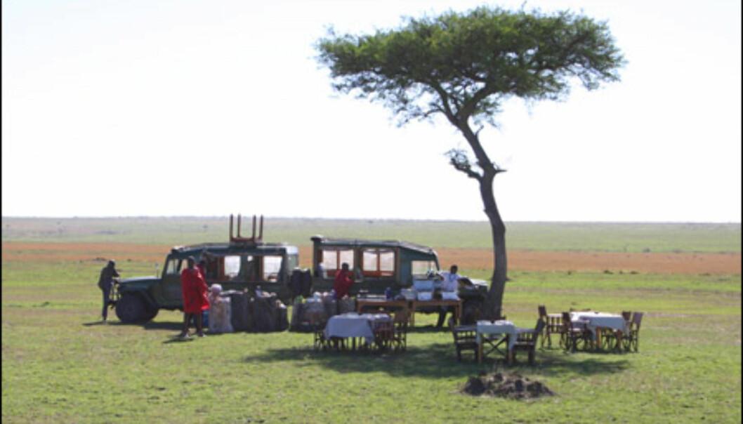 Lunch under åpen himmel midt på Masai Mara er en spesiell opplevelse.