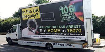 image: Skulle egentlig kjøre rundt og oppfordre ulovlige innvandrere til å komme seg hjem. Men nå snur den britiske innenriksministeren