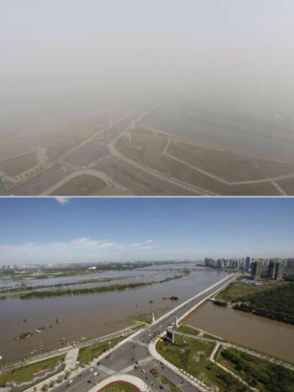 FØR OG ETTER KULLFYRING:  Bildet av nøyaktig samme område i Harbin nordøst i Kina er tatt midt på dagen 22. oktober (over) og 27. august (under).  FOTO: AFP/NTB Scanpix.