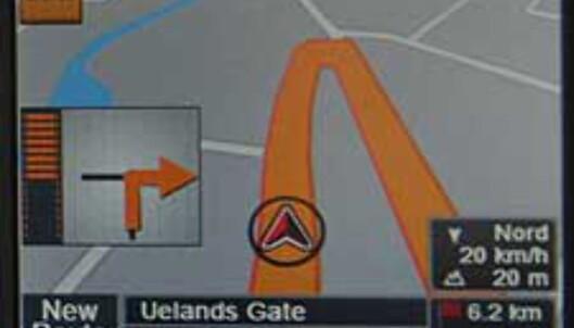 """Typisk grensesnitt fra en GPS-mottaker beregnet for bil. Her er ruten tydelig merket. I tillegg har mange GPS-mottakere innebygd tale; """"Sving til høyre om 100 meter"""", """"Rett frem i neste rundkjøring"""" osv."""