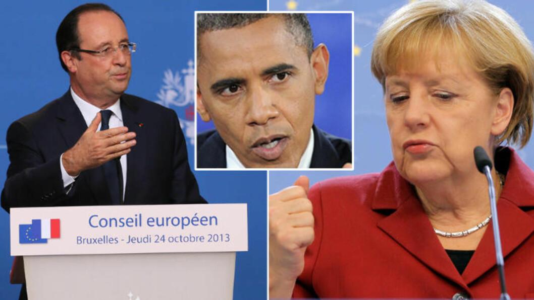 <strong> ØNSKER SVAR:</strong>  President François Hollande og Tysklands forbundskansler Angela Merkel ønsker svar fra USA. Foto: NTB Scanpix.