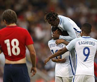 TUNG KVELD: 6-1-tapet mot England ble et mareritt for de norske U21-gutta. Foto: Images via Reuters / Matthew Childs Livepic EDITORIAL USE ONLY.