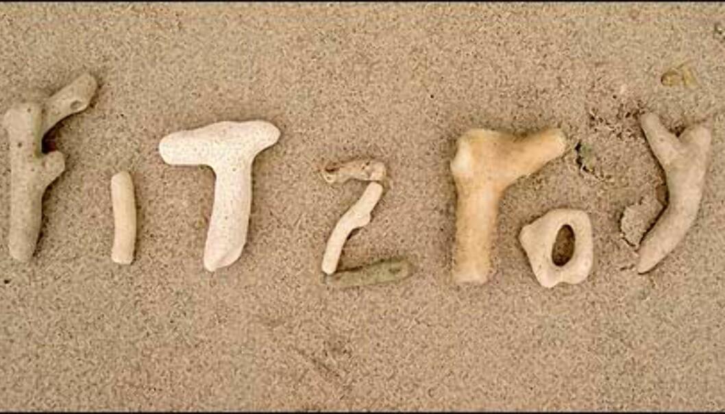Fitzroy - du kan skrive med koraller, men det er ikke tillatt å ta med bokstavene hjem. Foto: Sindre Storvoll