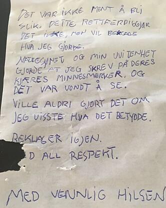 <strong>BEKLAGET SEG:</strong> Taggeren leverte i løpet av natta en bukett med roser og en lapp til Dan Brattvik. Foto: Privat