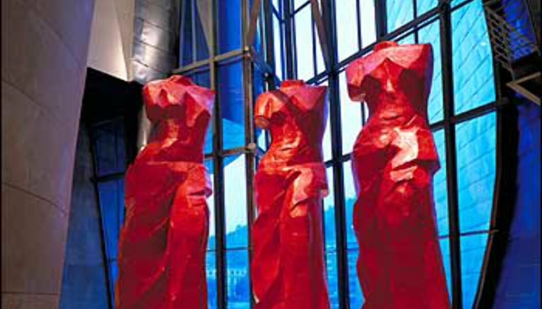 Tre røde spanske venuser av Jim Dine hører med til de permanente samlingene.<br /> <br /> <I>Foto: Guggenheimmuseet</I>