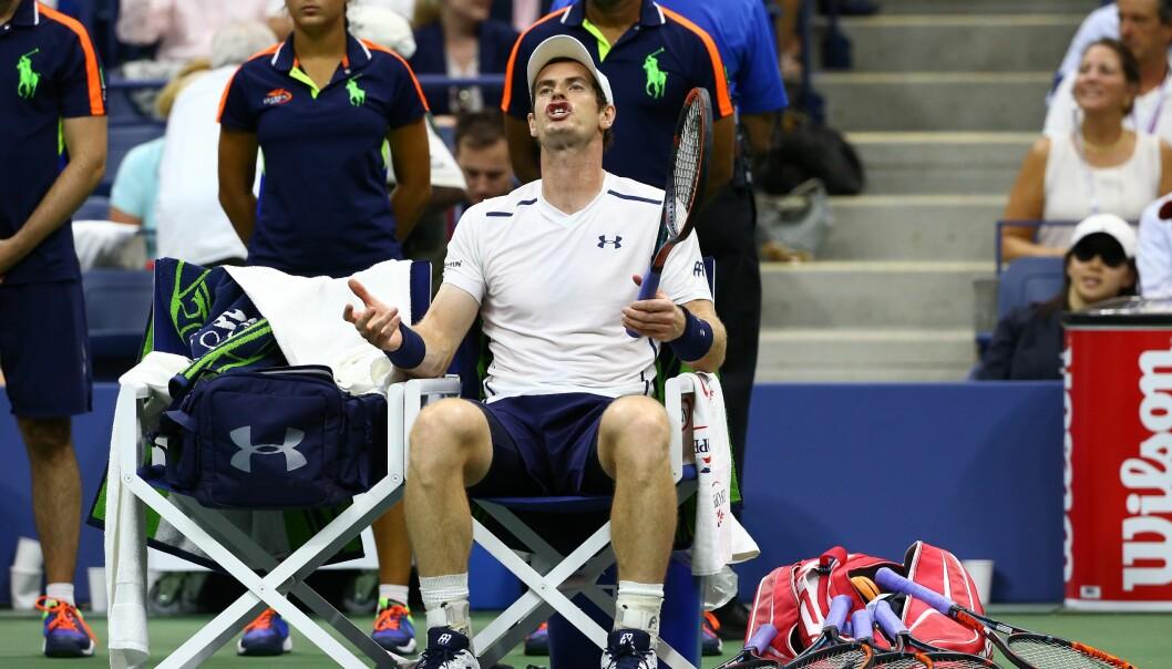<strong>OPPGITT:</strong> Andy Murray kjeftet flere ganger på dommeren i løpet av US Open-kvartfinalen. Foto: Volkan Furuncu / Anadolu Agency / NTB Scanpix