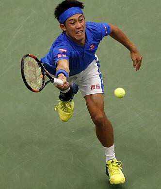 <strong>VANT:</strong> Kei Nishikori er klar for semifinale. Foto: Xinhua / Sipa / NTB Scanpix