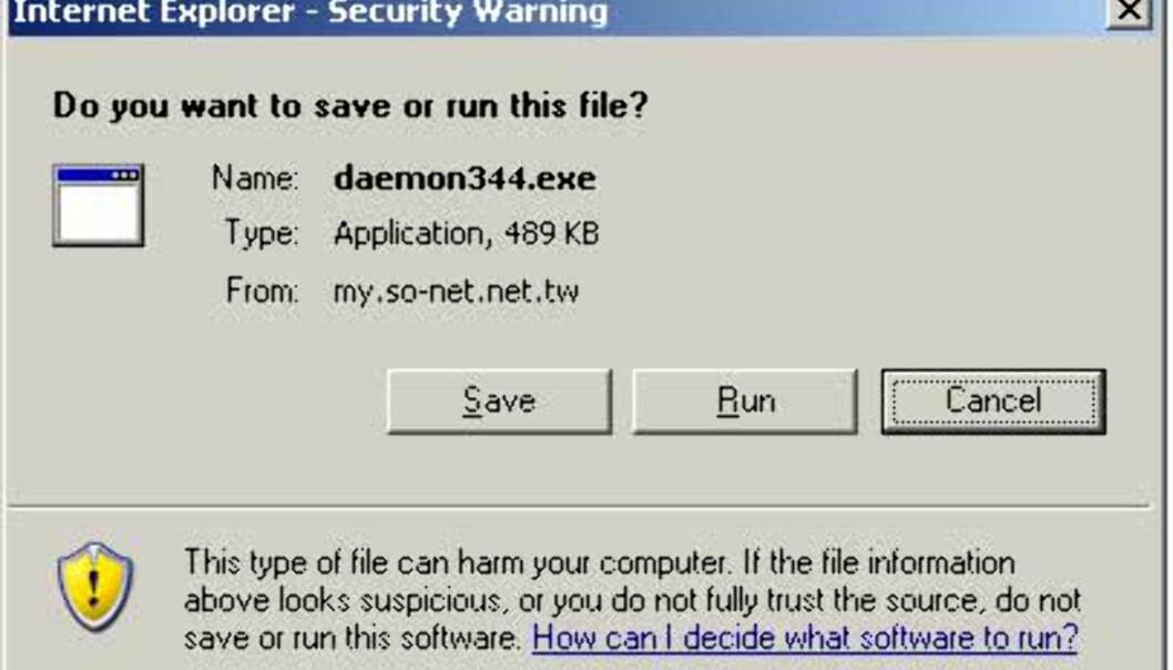 Ny sikkerhetsadvarsel når du laster ned filer gjennom Internet Explorer.