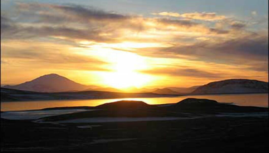 Bildet er tatt på Island i November 2003. Til venstre for sola sees vulkanen Hekla.<br />  <I>Foto: Marit Guttormsen</I> Foto: Marit Guttormsen