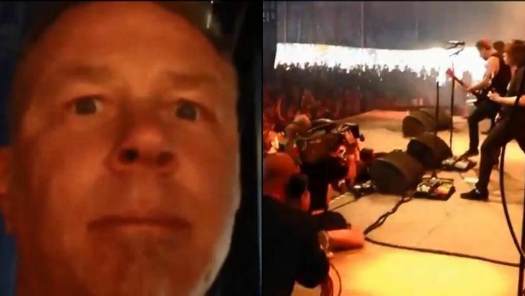 SCENEKOS: James Hetfield filmet seg selv fra Kvelertak-scenen.